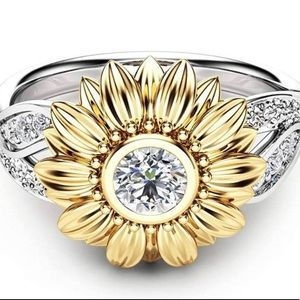 Silver and Gold Sunflower Ring
